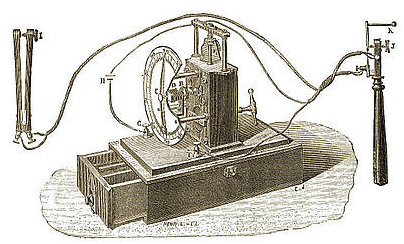 Clock designed by Jacques-Arsène d'Arsonval (1851-1940) to measure speed of transmission in nerves.
